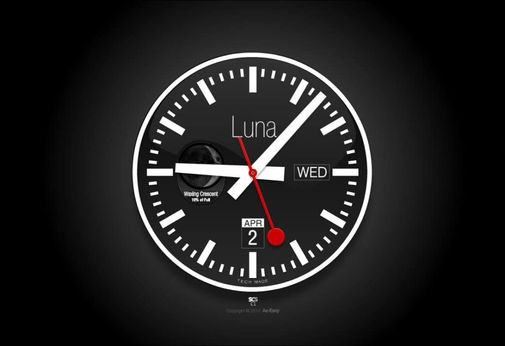 C1 - Luna Mac & PC Mondaine Swiss Analog Calendar Clock with Moon Phase Screensaver