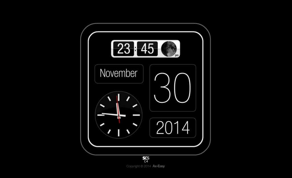C4 - Slick Moon Mac & PC Flip Clock Calendar Screensaver with Moon Phase